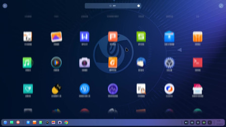 深度 Linux 系统 Deepin V20 启动器预览,与 macOS Launchpad 有些许类似