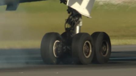飞机降落时,轮胎能承受多大压力?慢镜头记录全过程!
