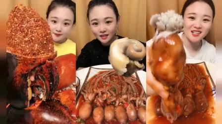 美食吃播:大胃王小姐姐吃爆大蟹钳和章鱼爆头,大口吃的超过瘾
