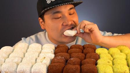 """韩国donkey吃播:""""3种口味的糯米团"""",看看这分量,小伙真能吃"""