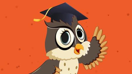 趣味益智动画片 猫头鹰飞在空中学习字母