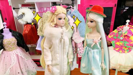 叶罗丽故事 冰公主冬天穿短裙不怕冷 灵公主超怕冷去买羽绒服