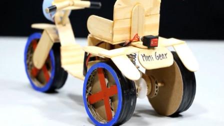 创意玩具 用冰棒棍自制一部电动三轮玩具车 趣味动画