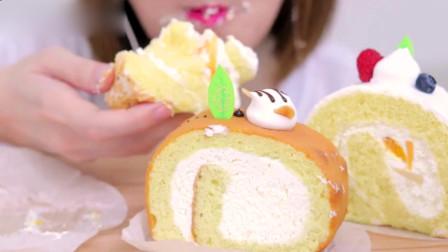 吃播大胃王:小姐姐吃软乎乎的奶油蛋糕卷,看起来可真好吃呀