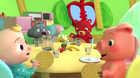 02小猪和小猴子摘苹果香蕉歌曲认识颜色学习英语儿歌童谣!