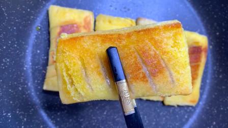 香蕉派不用烤箱也能做,外皮酥脆,馅心香甜,非常好吃