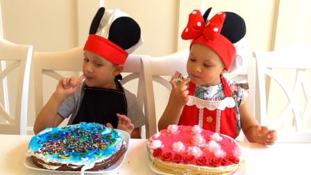 哇塞!萌娃小可爱们变成厨师给爸爸做生日蛋糕,看上去也太好吃啦!