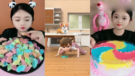 小姐姐直播吃琥珀糖、彩虹爆浆,你们小时候吃过吗?