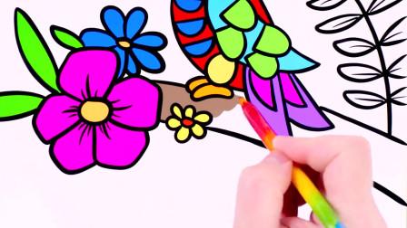 简笔画树林里的啄木鸟,非常简单适合初学者,幼儿绘画教程