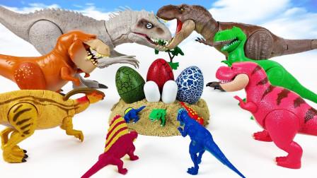 五彩恐龙蛋拆箱拼装小恐龙玩具
