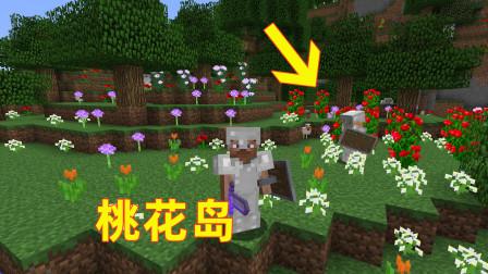 我的世界71!我和儿子来到一个种着五颜六色的花的地方,难道这是传说中的桃花岛?