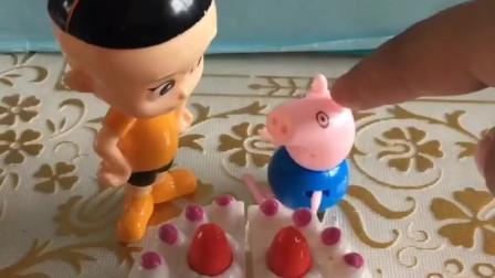 乔治有一个好吃的蛋糕,大头也想吃一块,小气的乔治会给他吗?