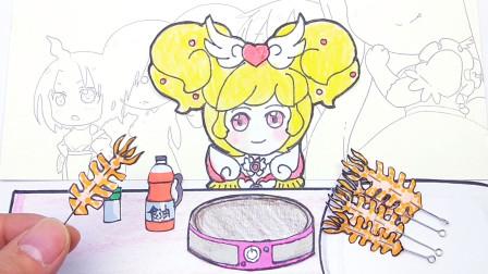 在手绘定格动画吃播,小花仙夏安安这样吃铁板大鱿鱼,看饿了