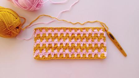 钩针编织拼色新花样可以织毛衣钩毯子用手工织毛线花样