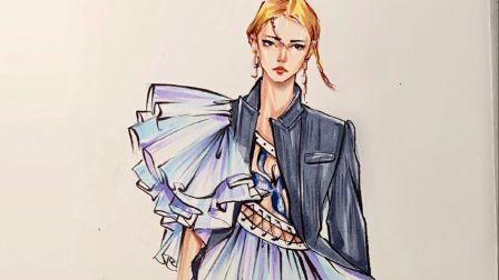 清华大学美术学院 服装设计考研 手绘示范