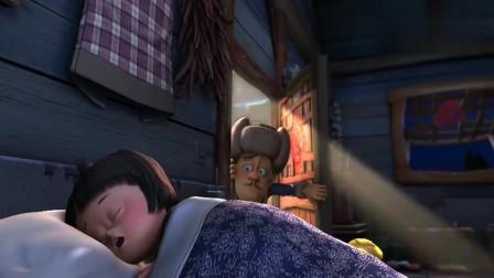 熊出没:强哥照顾嘟嘟一整天,终于睡着了,强哥都累的打呼噜了