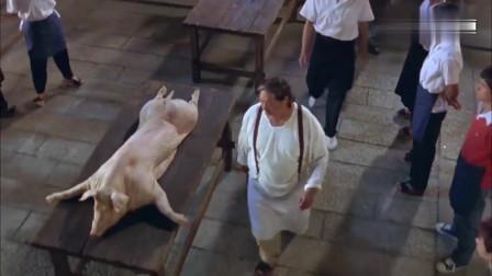 电影:这才叫真正的杀猪, 洪金宝一手神操作, 惊呆了围观群众!