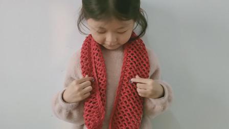 钩针编织渔网纹花样钩织的镂空围巾编织图案
