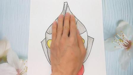用手掌放在一张纸手绘迪迦奥特曼,简单帅气又好画的手势图