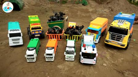 汽车垃圾车玩具搜索和收集垃圾,儿童益智,婴幼儿宝宝玩具过家家游戏视频N4
