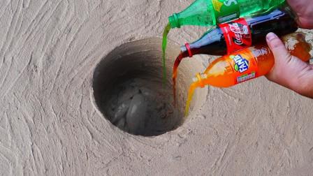 小伙发现奇怪地洞,把可乐雪碧芬达倒进去,结果收获意外惊喜!