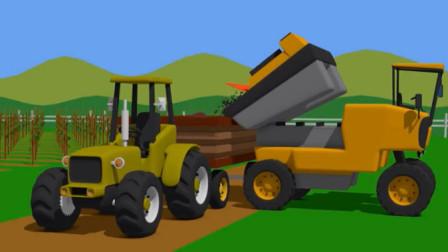 儿童工程车动画 自卸卡车挖掘机推土机和拖拉机采摘葡萄