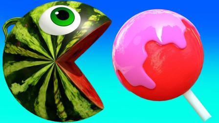 亲子早教动画西瓜吃豆小子吃棒棒糖学颜色