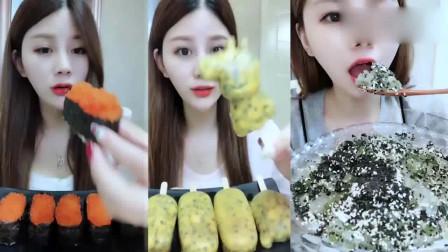 小姐姐直播吃鱼籽寿司、百香果冰激凌、芝麻炒冰,吃得超满足