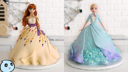 《冰雪奇缘2》公主的裙子太美了,艾莎与安娜的蛋糕,没人舍得吃