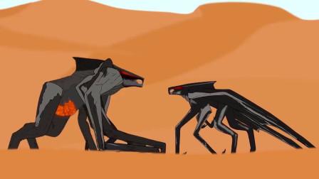 黑色幽默动画,哥斯拉大战六角怪,以一敌二毫不逊色!