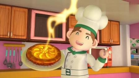 嘟当曼:厨师真厉害,能做这么好吃苹果派,小朋友都吃得好饱