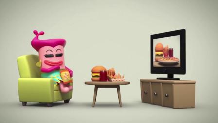 脑洞幽默动画,胖大婶学人家吃苹果减肥,抵挡不住诱惑狂砸食物!