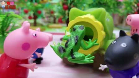 《小猪佩奇》小故事,佩奇遇到了调皮的小青蛙,她好开心呀