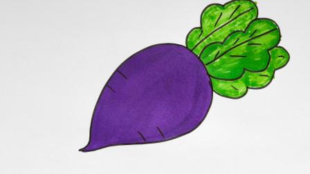 儿童简笔画教程,小白兔最爱吃的食物,大萝卜!