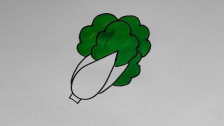 儿童简笔画,一分钟教宝宝画一颗大白菜!