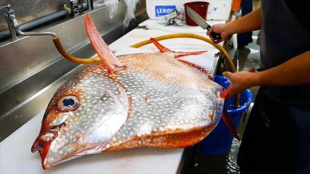 巨型太阳鱼切割,这鱼太贵,切不好就亏本了