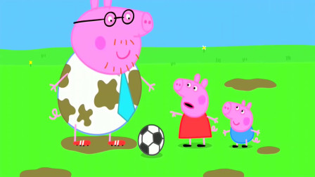 猪爸爸踢足球的时候,把白色衬衫弄脏了,佩奇过来告诉他!