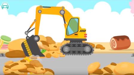 棉花糖组装卡哇伊的工程车挖掘机!工程车总动员游戏