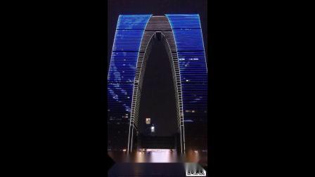 苏州地标建筑东方之门夜景