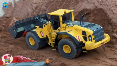 工程车施工,黄色装载车,儿童玩具亲子互动