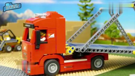 吊车积木拼装高架桥汽车安全行驶智能机器挑选工程车零件