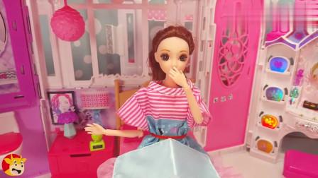 芭比娃娃的梦想生活:小闹钟吵醒了想睡懒觉的芭比,起床洗澡洗漱