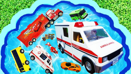 儿童早教启蒙玩具认知:直升飞机、公交车、翻斗车、警车、环卫车、救护车、大卡车!