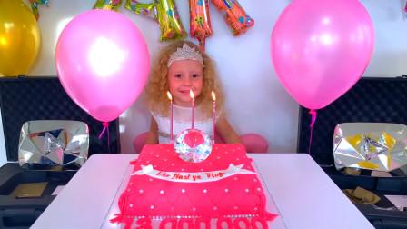 超级棒!今天是萌娃小可爱的生日,爸爸给小家伙准备了生日蛋糕,小萝莉快吹蜡烛吧!