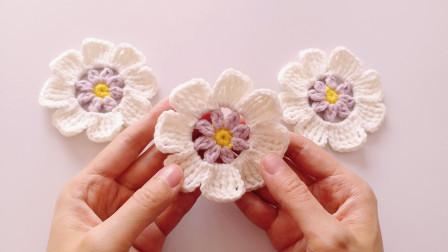 钩针编织简单的白色装饰花片素雅美丽的小花儿编织方法视频