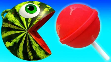 亲子早教动画吃豆小子吃棒棒糖变成西瓜球