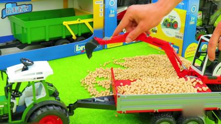汽车玩具:挖掘机农场任务之黄豆大作战 满满一车厢黄豆大丰收