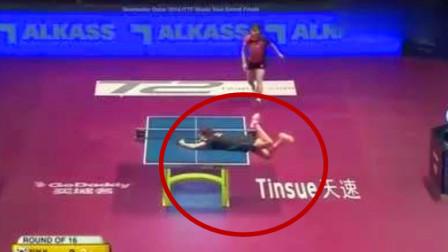 太尴尬了!石川佳纯被对手戏耍,趴到台桌上还是够不着球