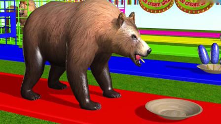 笼子里的熊,大猩猩,狮子,老虎吃掉了不同的雪糕后改变了颜色