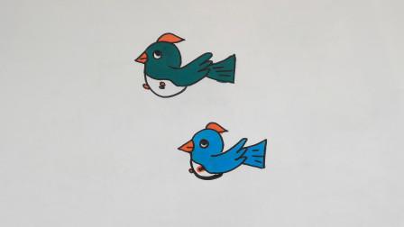 儿童简笔画教程,小鸟儿在天上自由的飞翔!